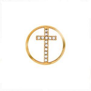 3/$15 🖤 Origami Owl 🖤 Gold Rhinestone Cross MED